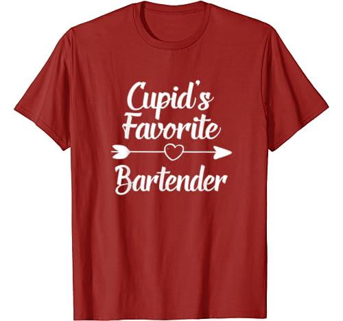 Valentines Day Gift Cupid's Favorite Bartender T Shirt