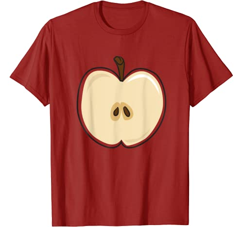 Funny Sliced Red Apple Halloween Fruit Simple Group Costume T Shirt