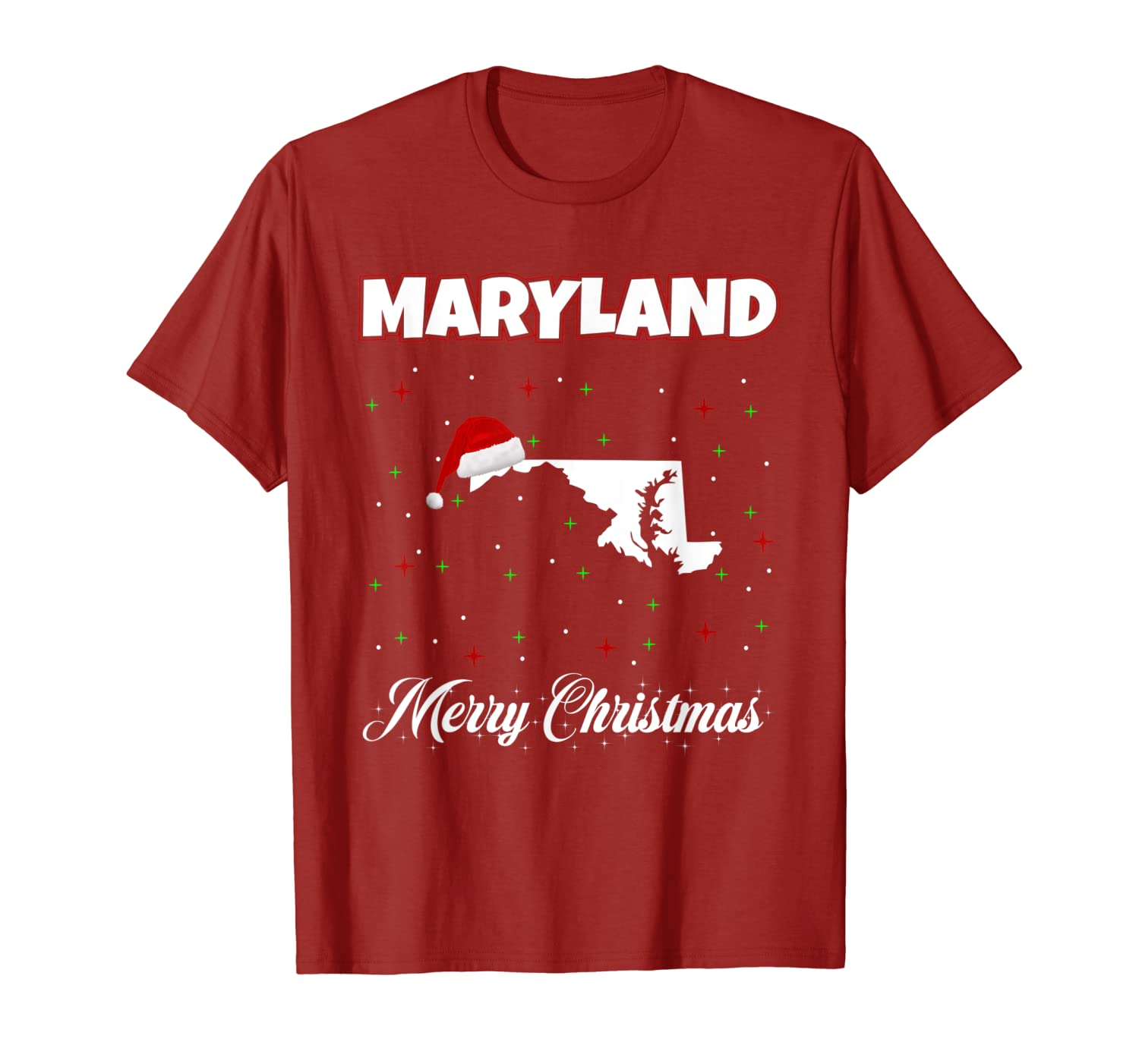 Maryland Merry Christmas with Santa Claus Hat T-Shirt-ANZ