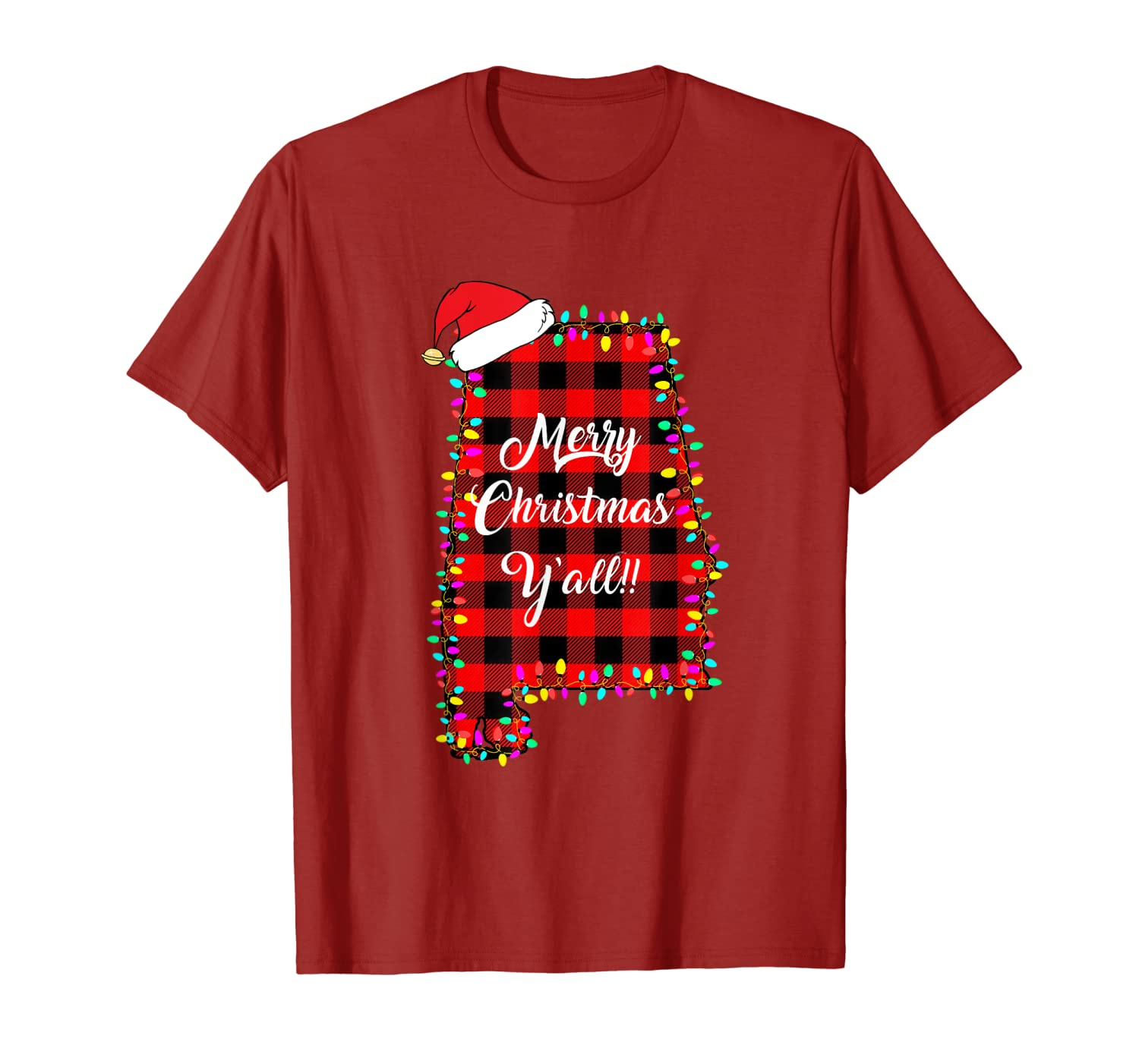 Merry Christmas Y'All Alabama State Red Plaid Holiday T-Shirt-ANZ
