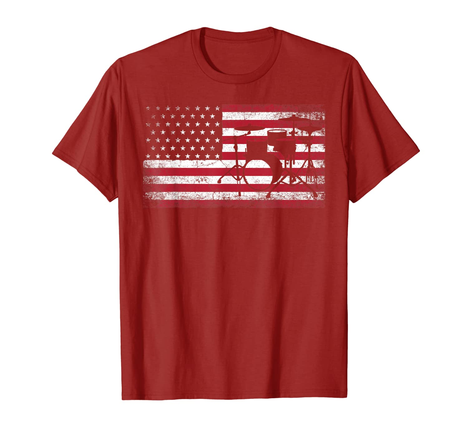 4th of July Drummer Drum American Flag Patriotic USA Gift T-Shirt-ANZ