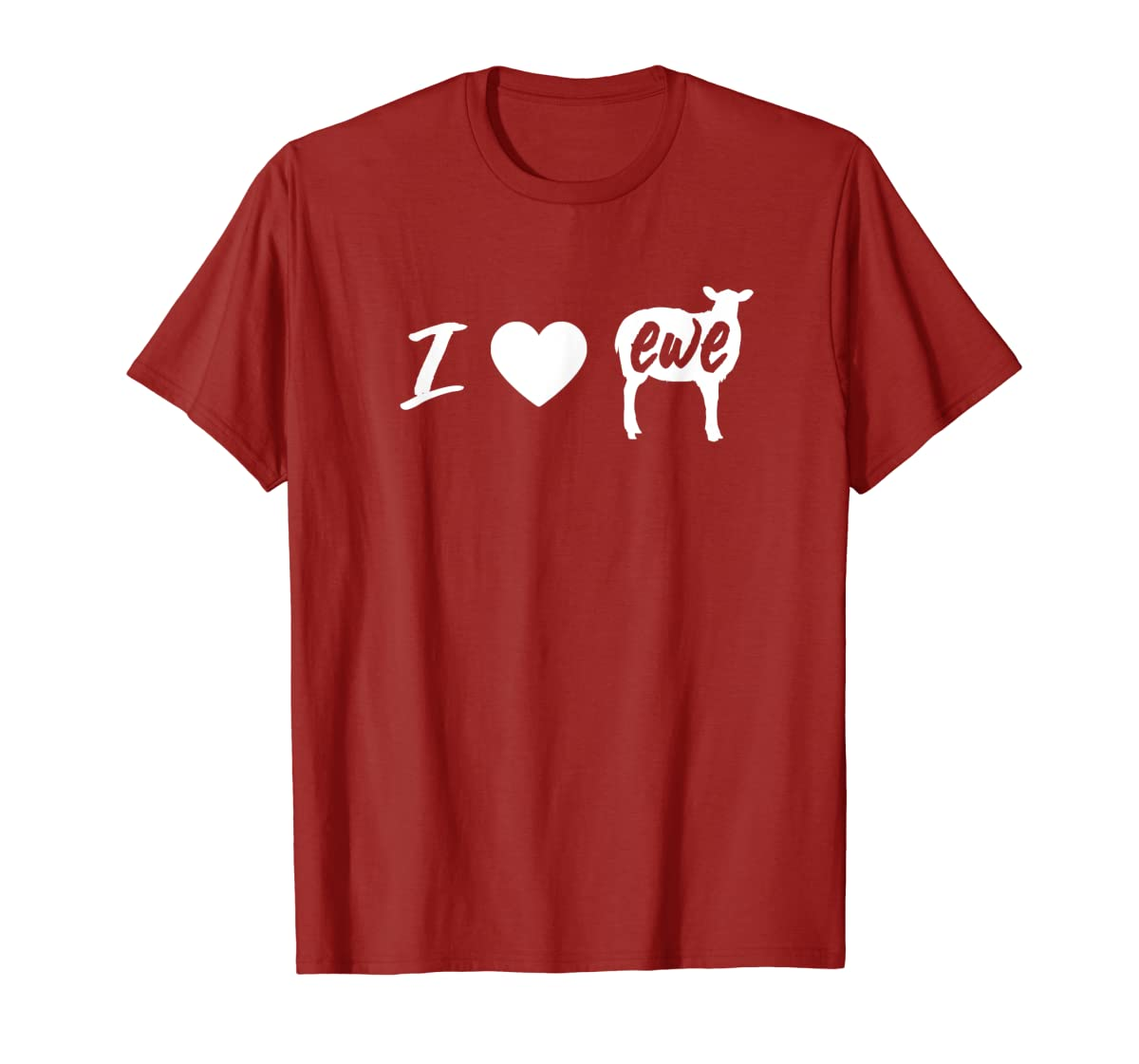 I Love Ewe - I Love You Sheep Pun Shirt-Men's T-Shirt-Red