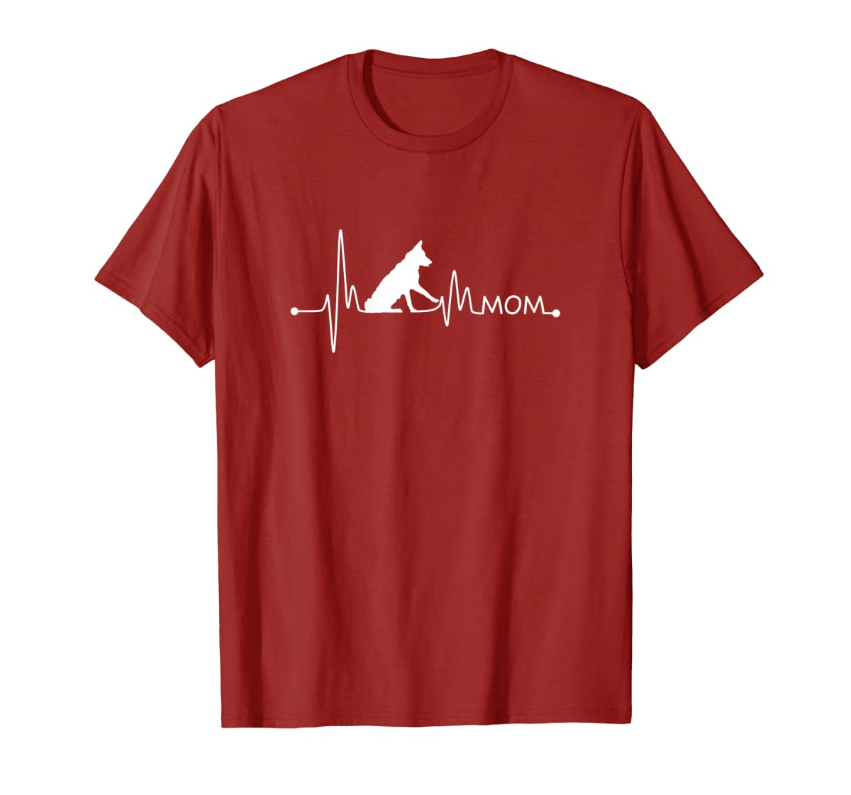 Womens Border Collie Heartbeat Mom Shirt Ekg Pulse Collie Lover Tee-Men's T-Shirt-Red