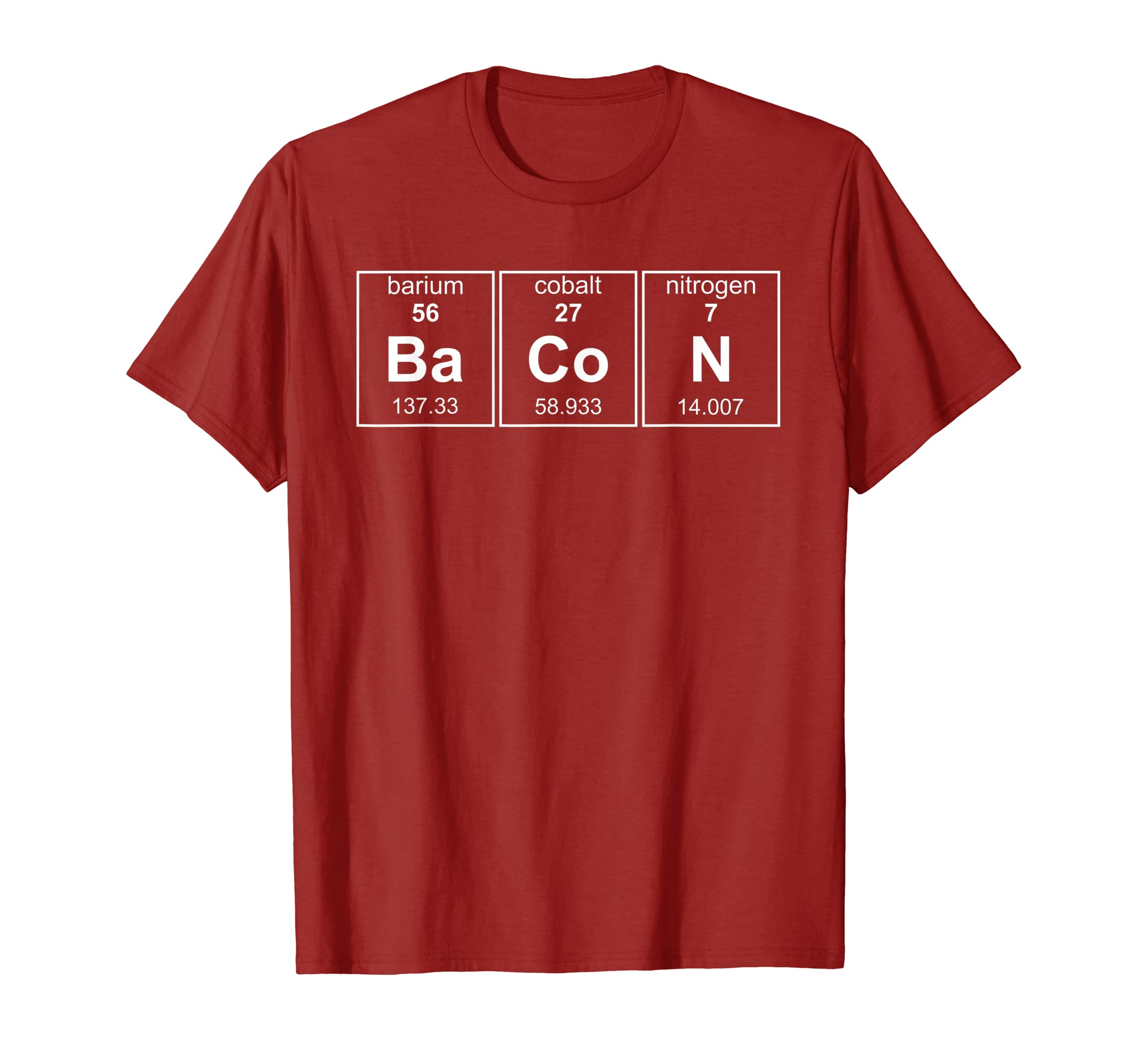 803549b8f8 Amazon.com: Bacon Chemistry Periodic Table Funny Novelty Tshirt: Clothing