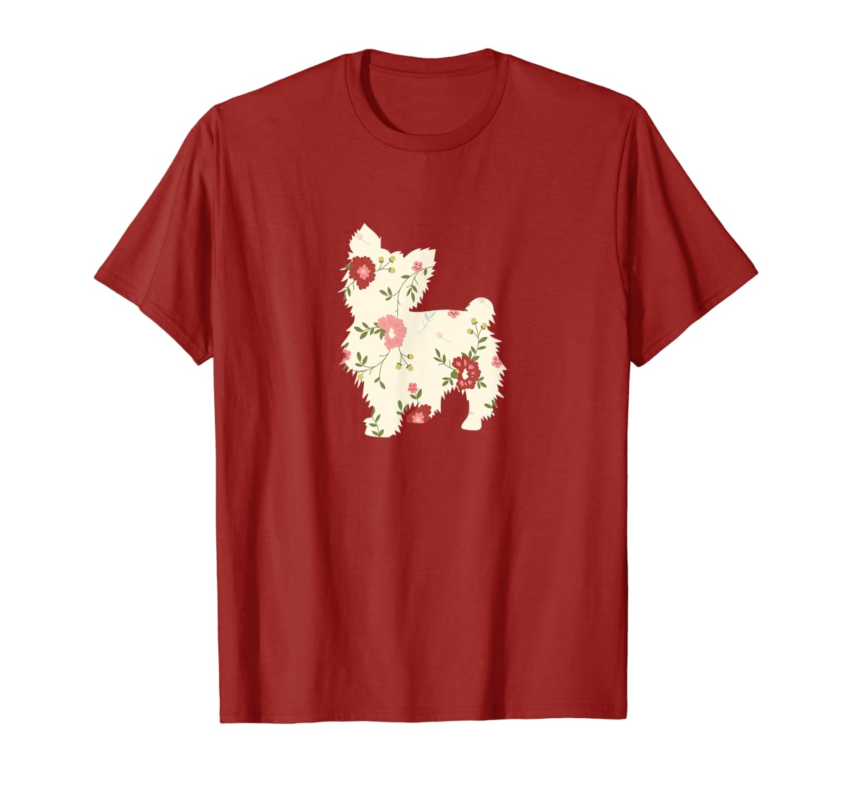 Yorkshire terrier Floral Vintage Dog Flower T-Shirt Gift Mom-Men's T-Shirt-Red