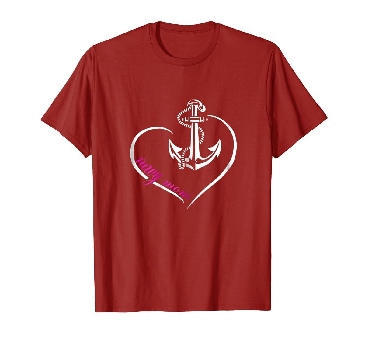 Womens U.S. NAVY SHIRT ORIGINAL PROUD NAVY MOM T-TSHIRT-Men's T-Shirt-Red