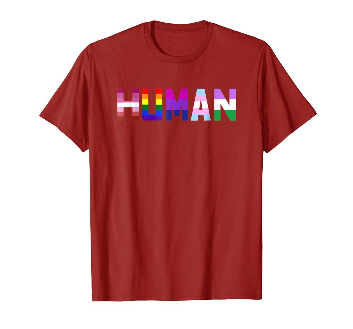 HUMAN Flag LGBT Gay Pride Month Transgender Ally T Shirt-Men's T-Shirt-Red