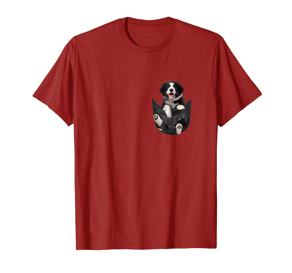 Border Collies Inside In Pocket Dog Lover T shirt Funny Cute-Men's T-Shirt-Red