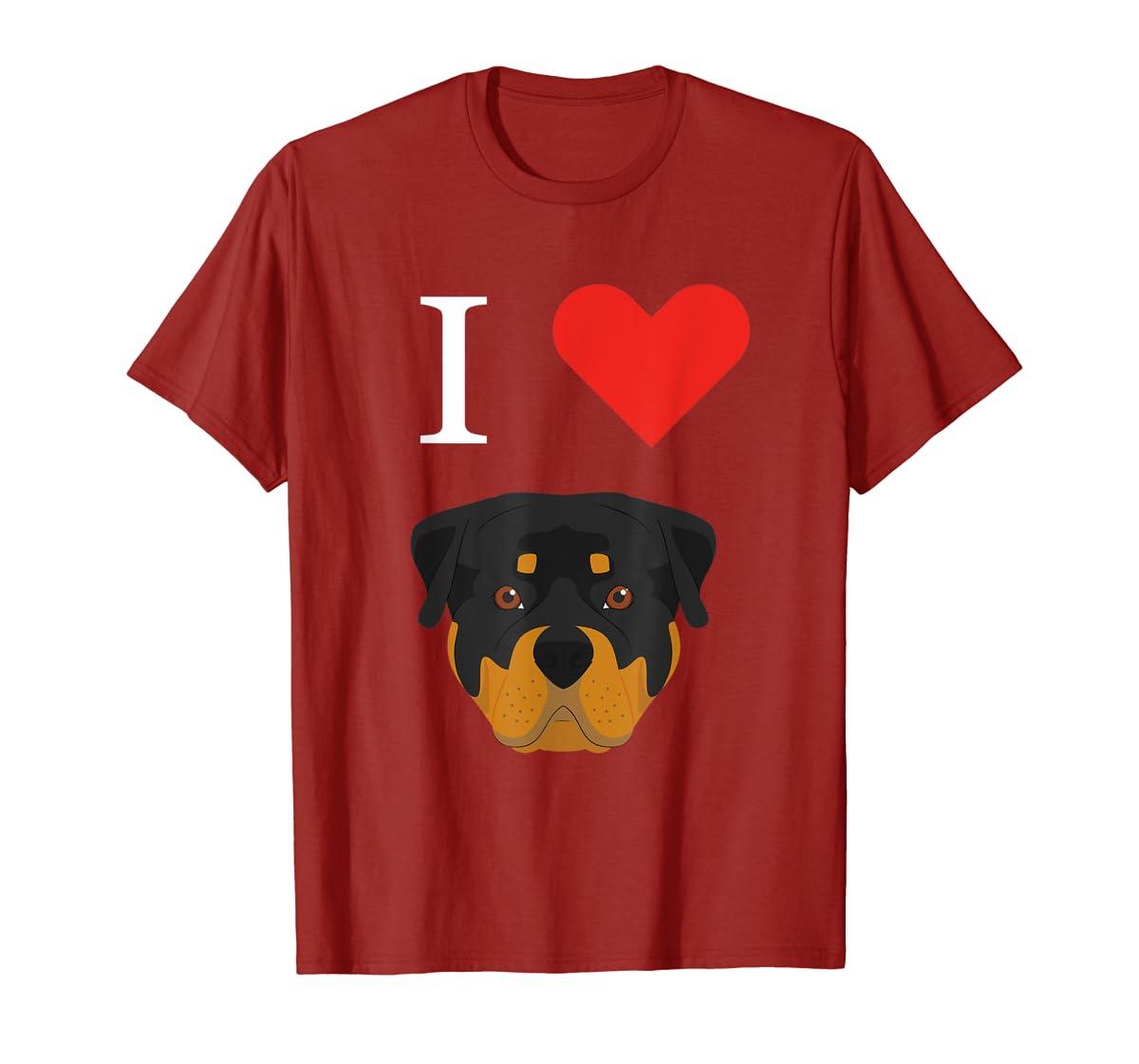 I Love My Rottweiler Dog T-Shirt-Men's T-Shirt-Red
