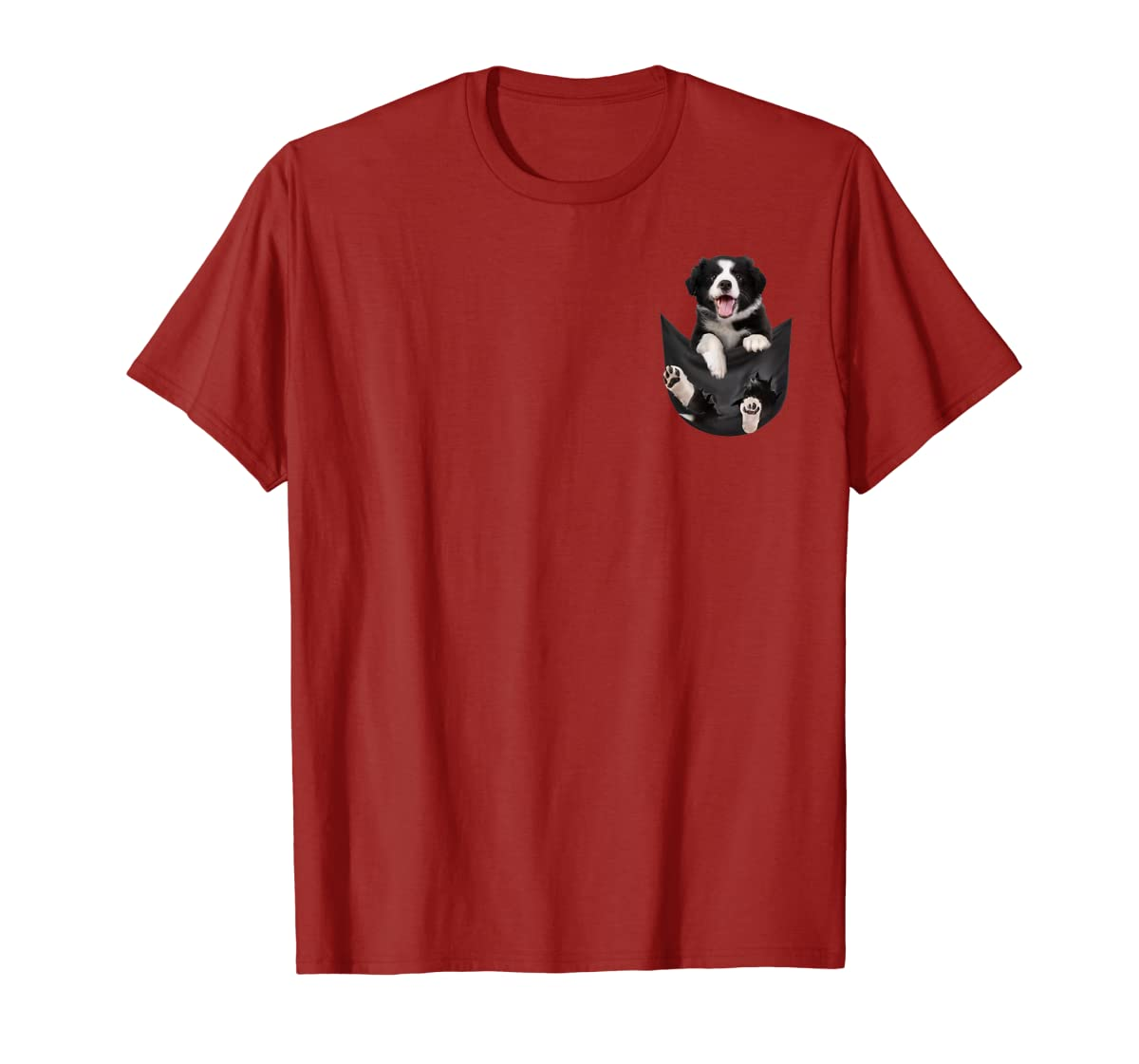 Gift dog funny cute shirt - Border Collie in pocket shirt T-Shirt-Men's T-Shirt-Red