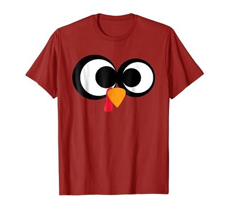 Amazon Com Thanksgiving Cartoon Turkey Face T Shirt Clothing