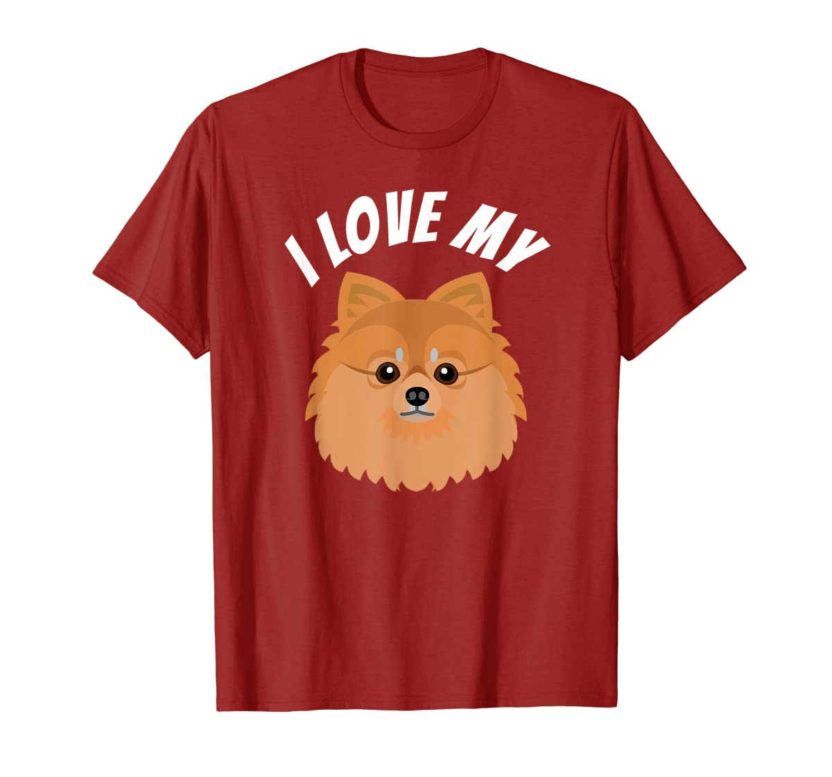 I Love My Pomeranian T-Shirt Dog Lover Tee-Men's T-Shirt-Red