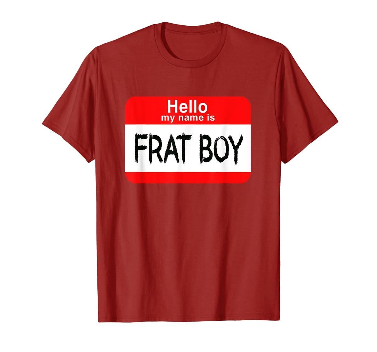 Hello My Name Is Frat Boy Halloween Costume T-Shirt-Men's T-Shirt-Red