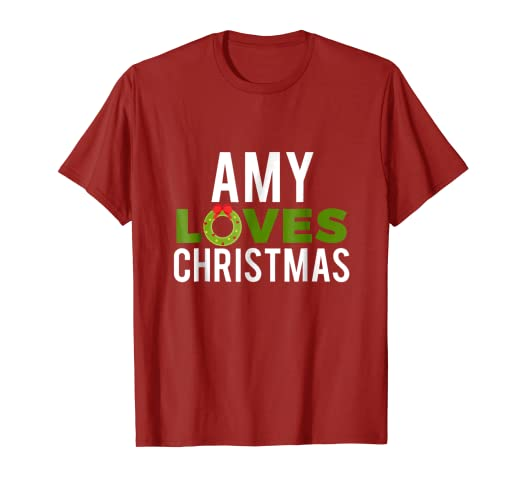 6db2c550 Amazon.com: Amy Loves Christmas T-Shirt Funny Family Christmas Tee ...