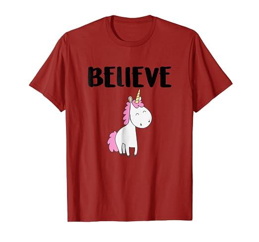 56c666e2 Amazon.com: Unicorn Shirt Believe Tees Magical Fantasy Cute Holiday ...