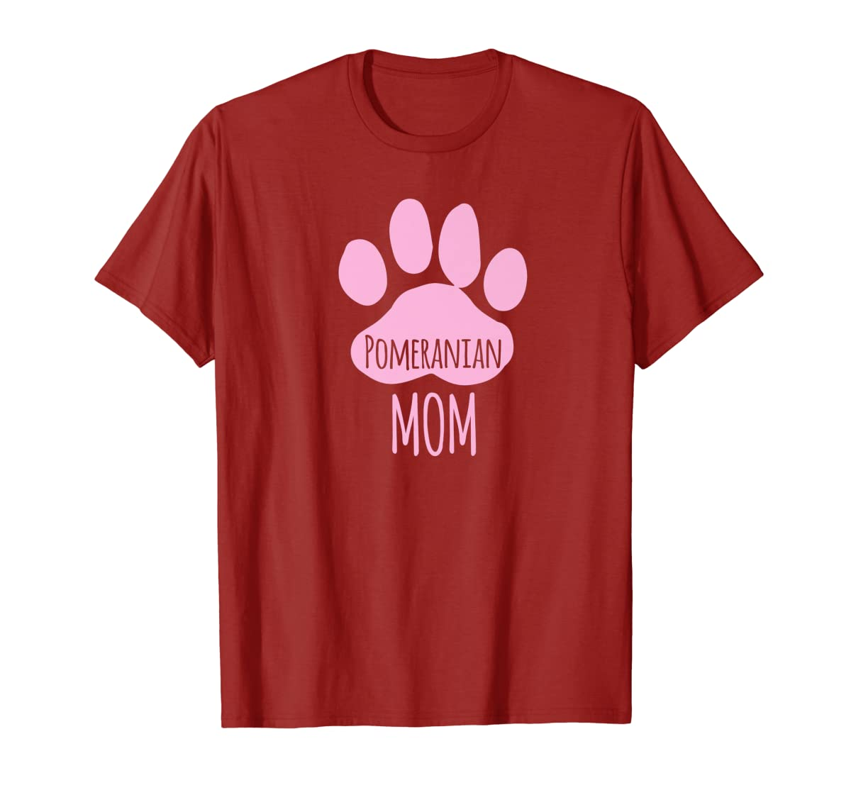 Cute Pomeranian Mom T Shirt for Pom Owner Dog Paw Pink-Men's T-Shirt-Red