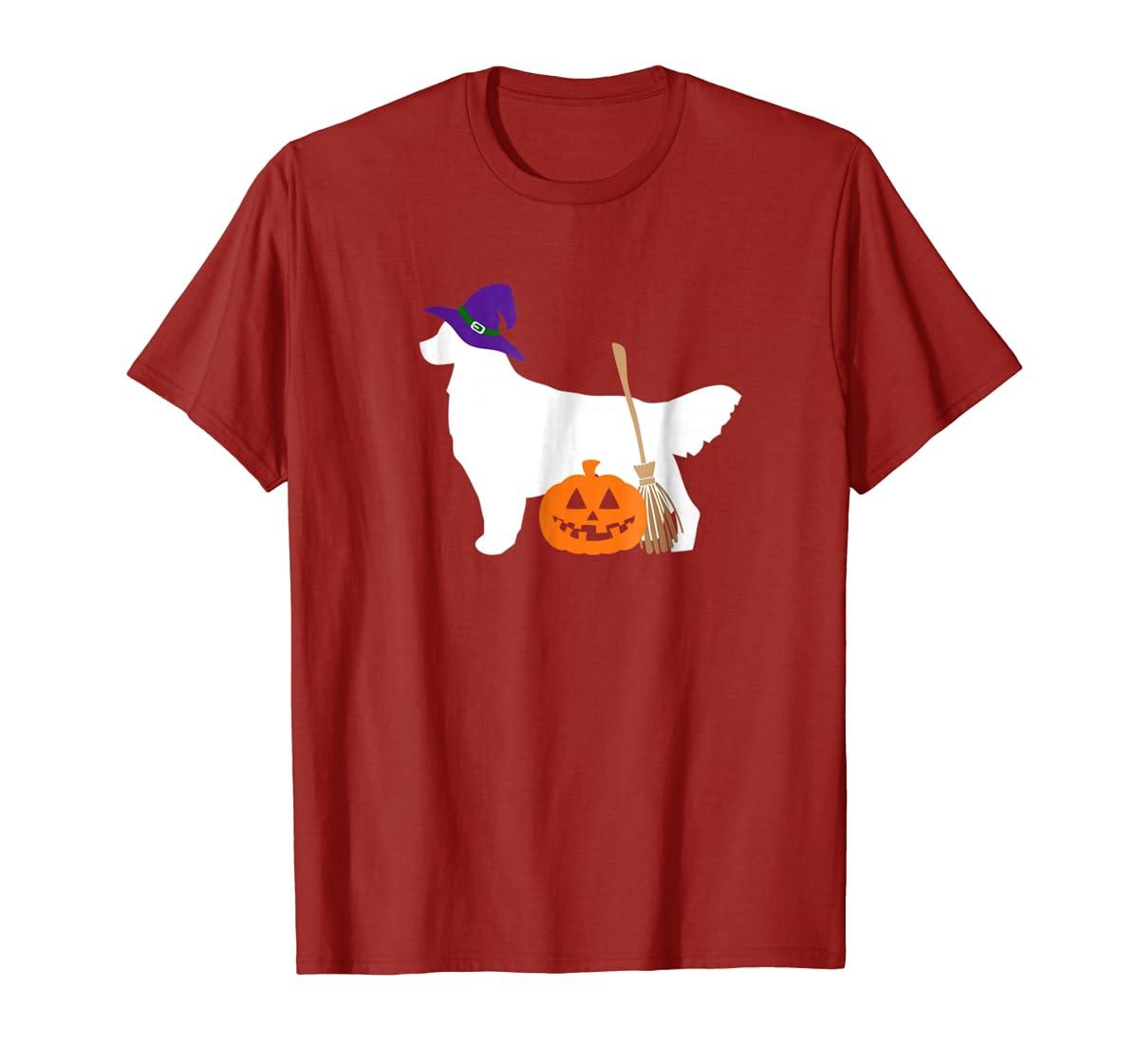 Golden Retriever Witch Hat Halloween Dog T-Shirt-Men's T-Shirt-Red