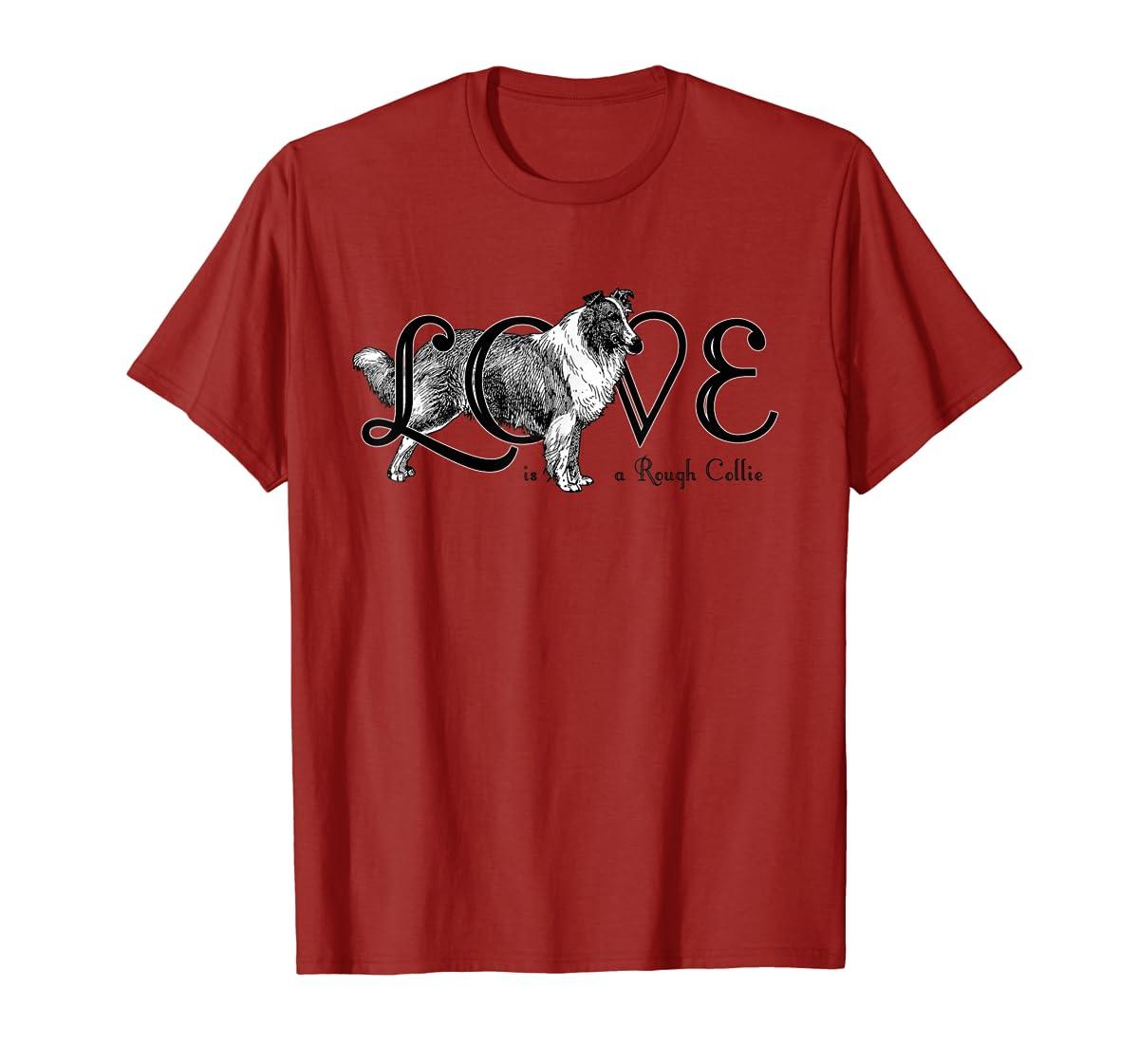 Love is a Rough Collie T-Shirt-Men's T-Shirt-Red