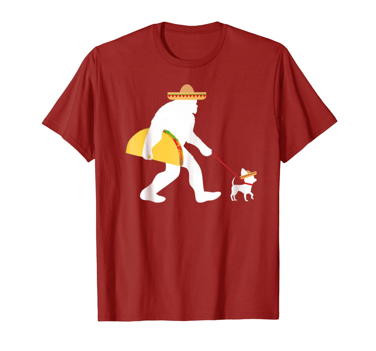 Bigfoot Taco Sombrero Chihuahua Dog Cinco de Mayo T-shirt-Men's T-Shirt-Red