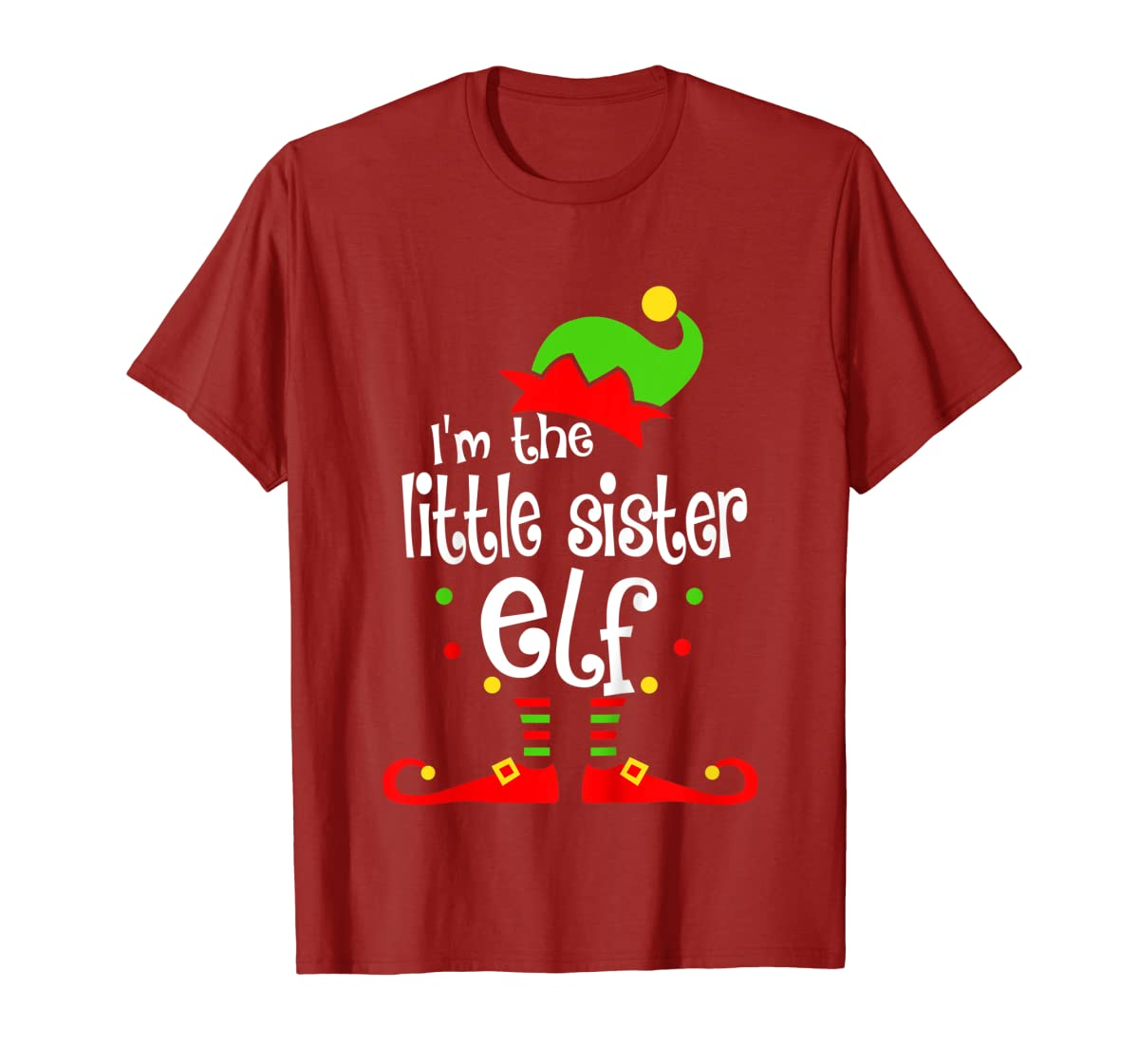 Kids Little Sister Elf Christmas Costume Outfit Xmas Gift T-Shirt-Men's T-Shirt-Red