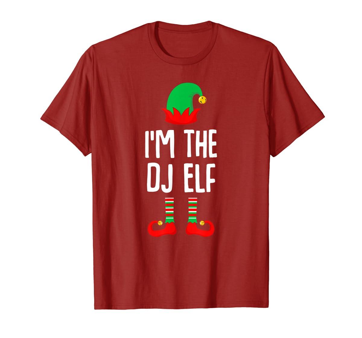 I'm The Dj Elf Matching Family Group Christmas T-Shirt-Men's T-Shirt-Red