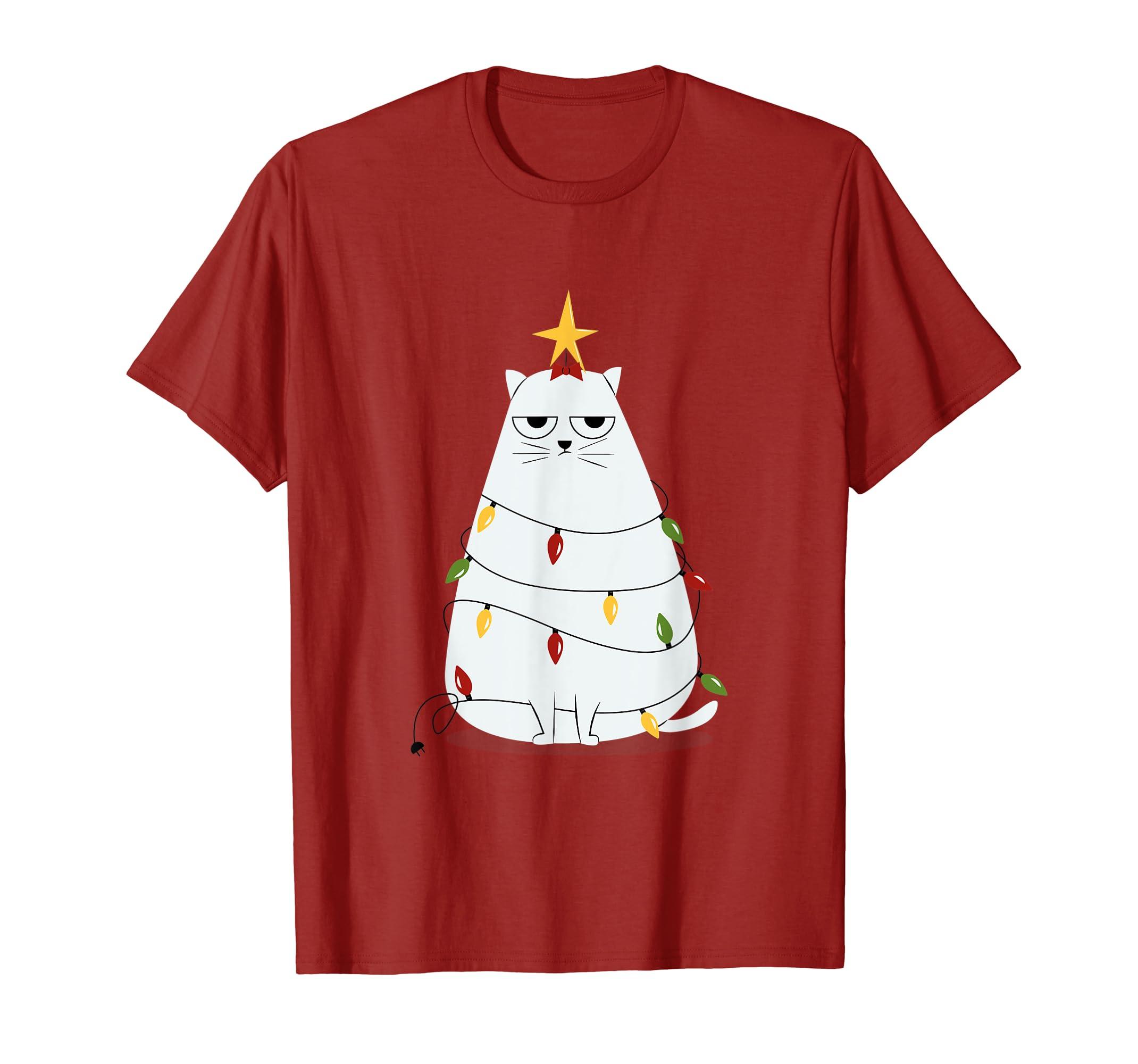 9acff7d4 Amazon.com: Annoyed Funny Christmas Cat Shirt for Xmas Day: Clothing