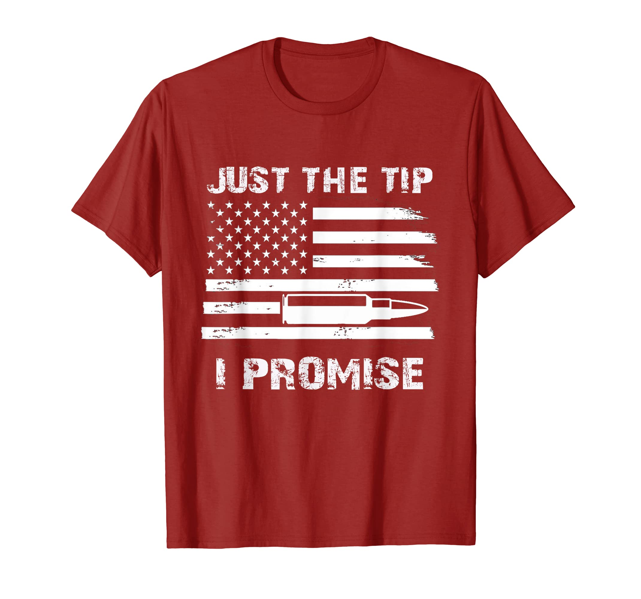 Just The Tip I Promise T-Shirt USA Flag Gun Owner Bullet Tee-Teehay