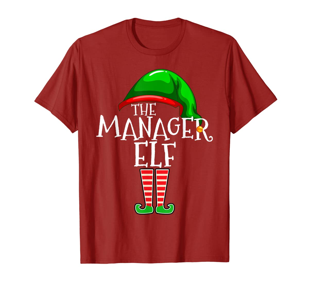 The Manager Elf Group Matching Family Christmas Gifts Boss T-Shirt-Men's T-Shirt-Red