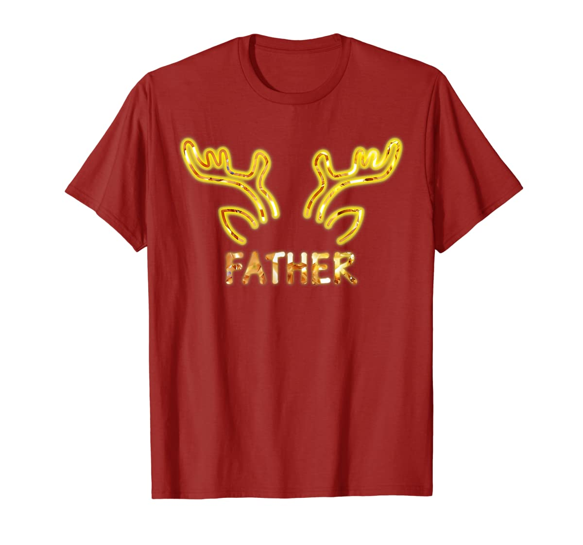 Father Reindeer Matching Family Christmas T-Shirt T-Shirt-Men's T-Shirt-Red