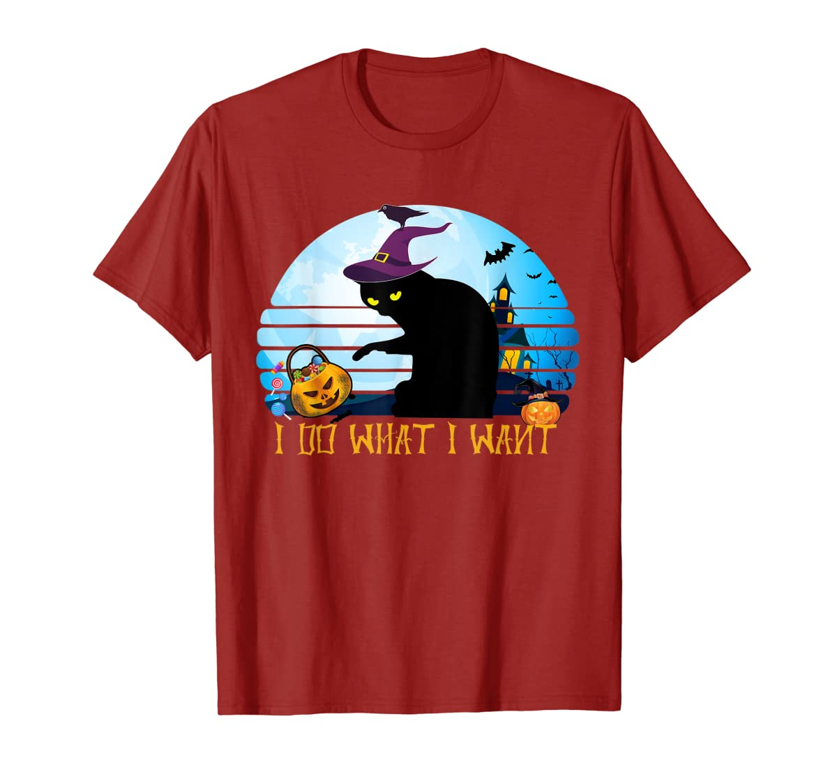 I Do What I Want Black Cat Tshirt Halloween Gift Cat Lovers-Men's T-Shirt-Red
