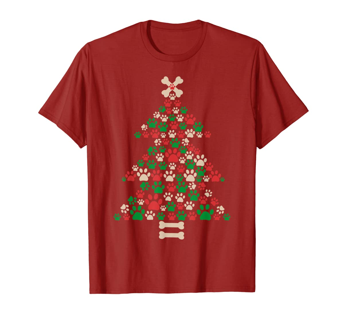 Christmas Tree Made Of Bones And Paw Prints Dog Lover T-Shirt-Men's T-Shirt-Red