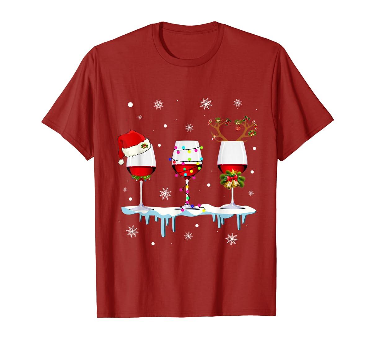 Three Glass of Red Wine Santa Hat Christmas T-Shirt-Men's T-Shirt-Red