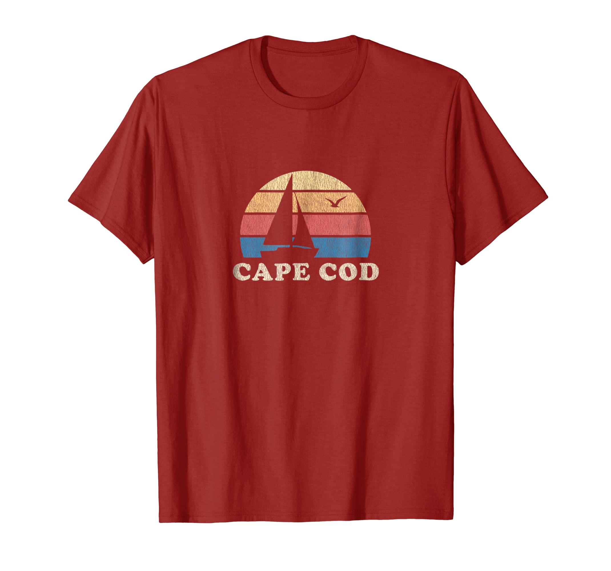 Cape Cod MA T Shirt Vintage Sailboat 70s Throwback Sunset-Colonhue