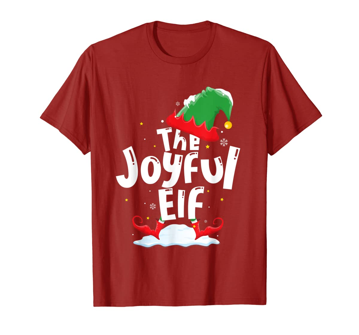 The Joyful Elf Group Matching Family Christmas Gifts Holiday T-Shirt-Men's T-Shirt-Red