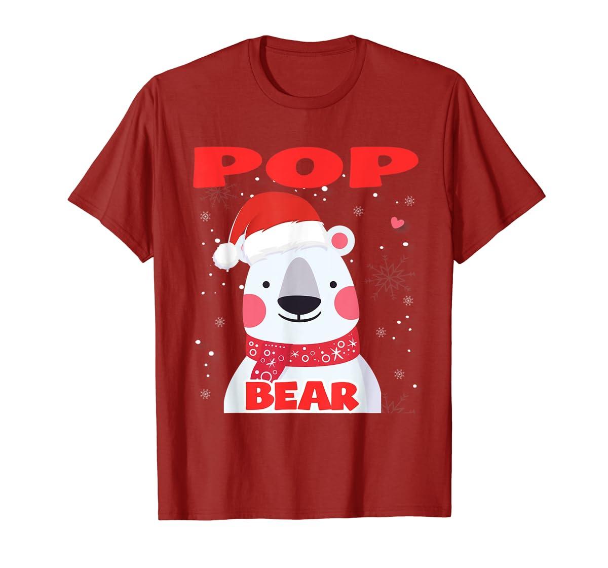 Pop Bear Christmas Grandpa Santa T-Shirt-Men's T-Shirt-Red