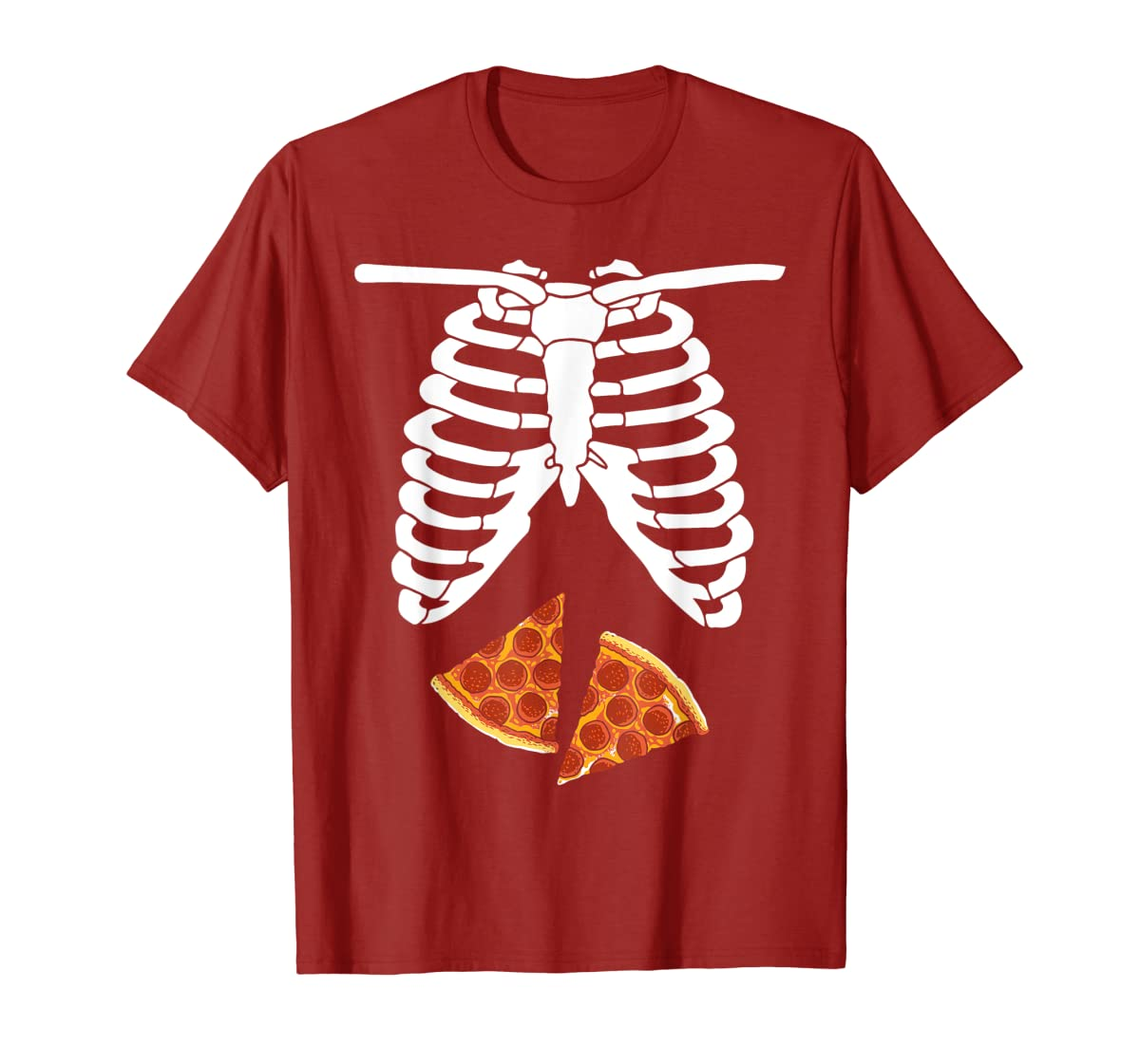 Halloween Skeleton Xray Pizza Slices Costume Rib Cage Easy T-Shirt-Men's T-Shirt-Red