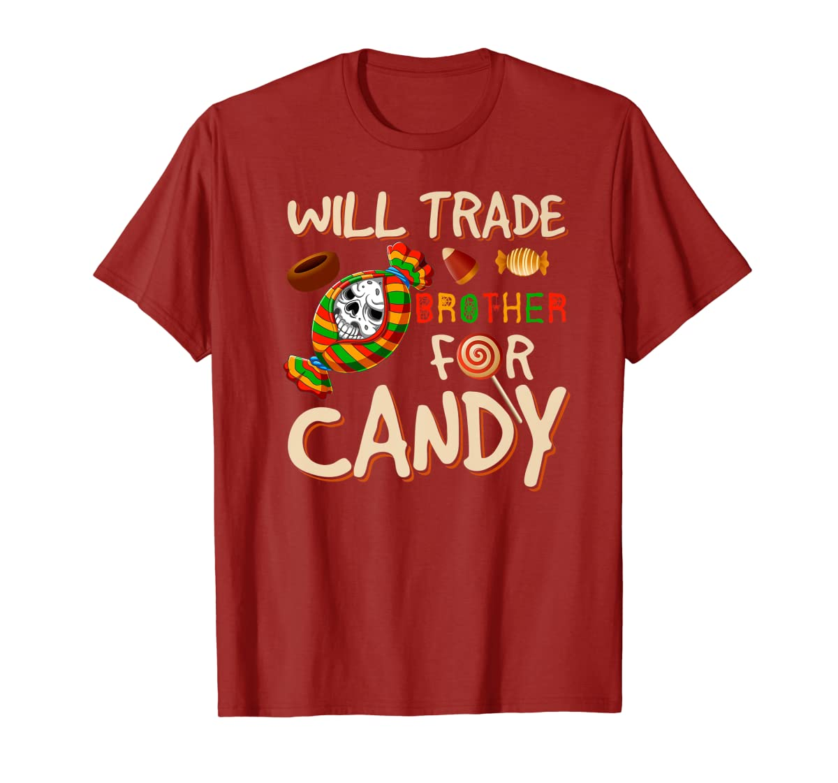 Will Trade Brother For Candy Halloween Premium T-Shirt-Men's T-Shirt-Red