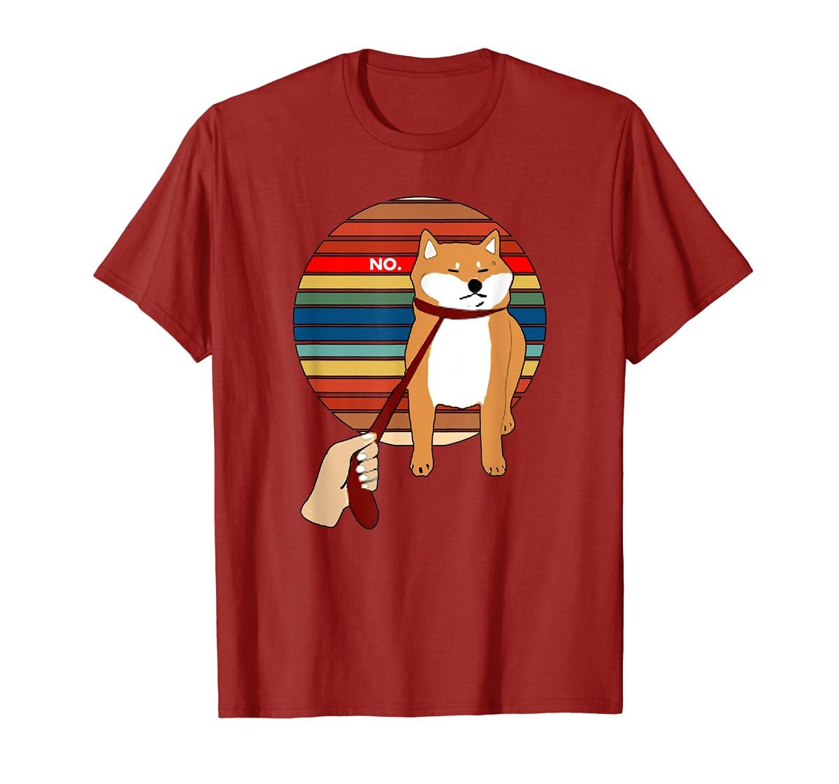 Cute Vintage Retro Shiba Inu Nope Dog Tee Shirt-Men's T-Shirt-Red