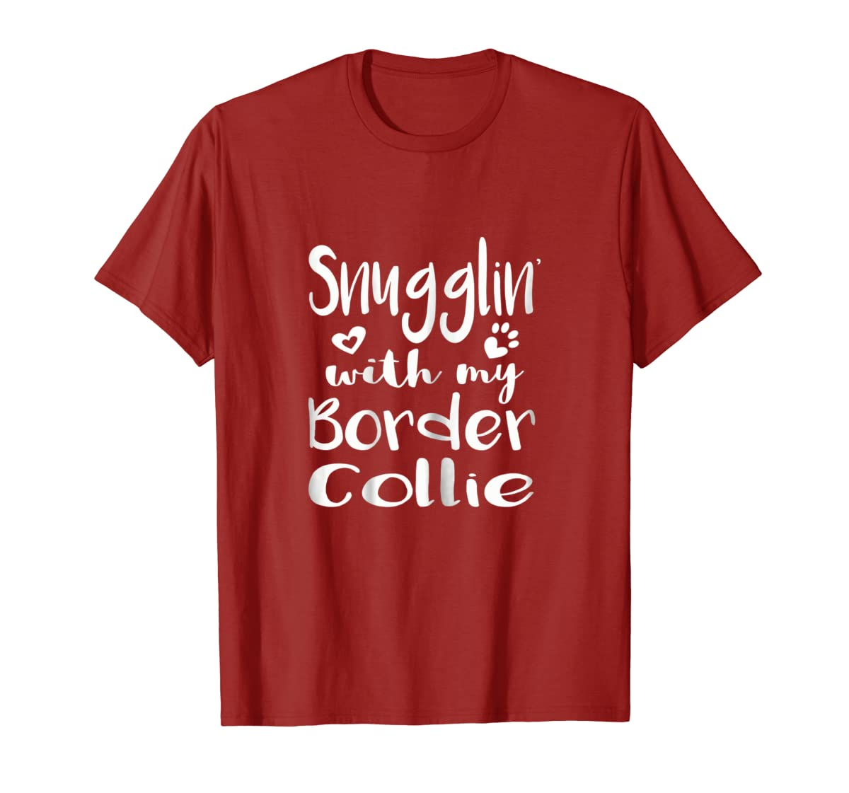Snuggling with my Border Collie Shirt - Dog Mom pajamas-Men's T-Shirt-Red