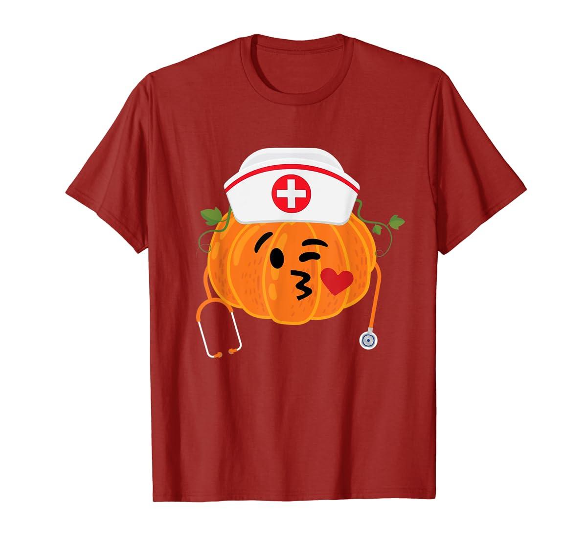 Nurse Stethoscope Pumpkin Funny Nursing Halloween Gift T-Shirt-Men's T-Shirt-Red