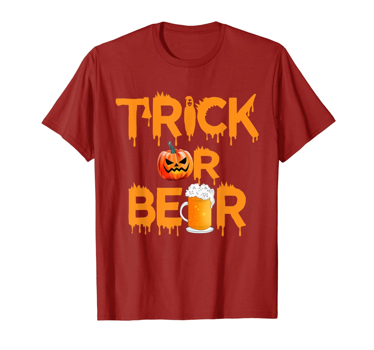 Halloween Costume Trick or Beer Drinking T Shirt Pumpkin Men T-Shirt-Men's T-Shirt-Red