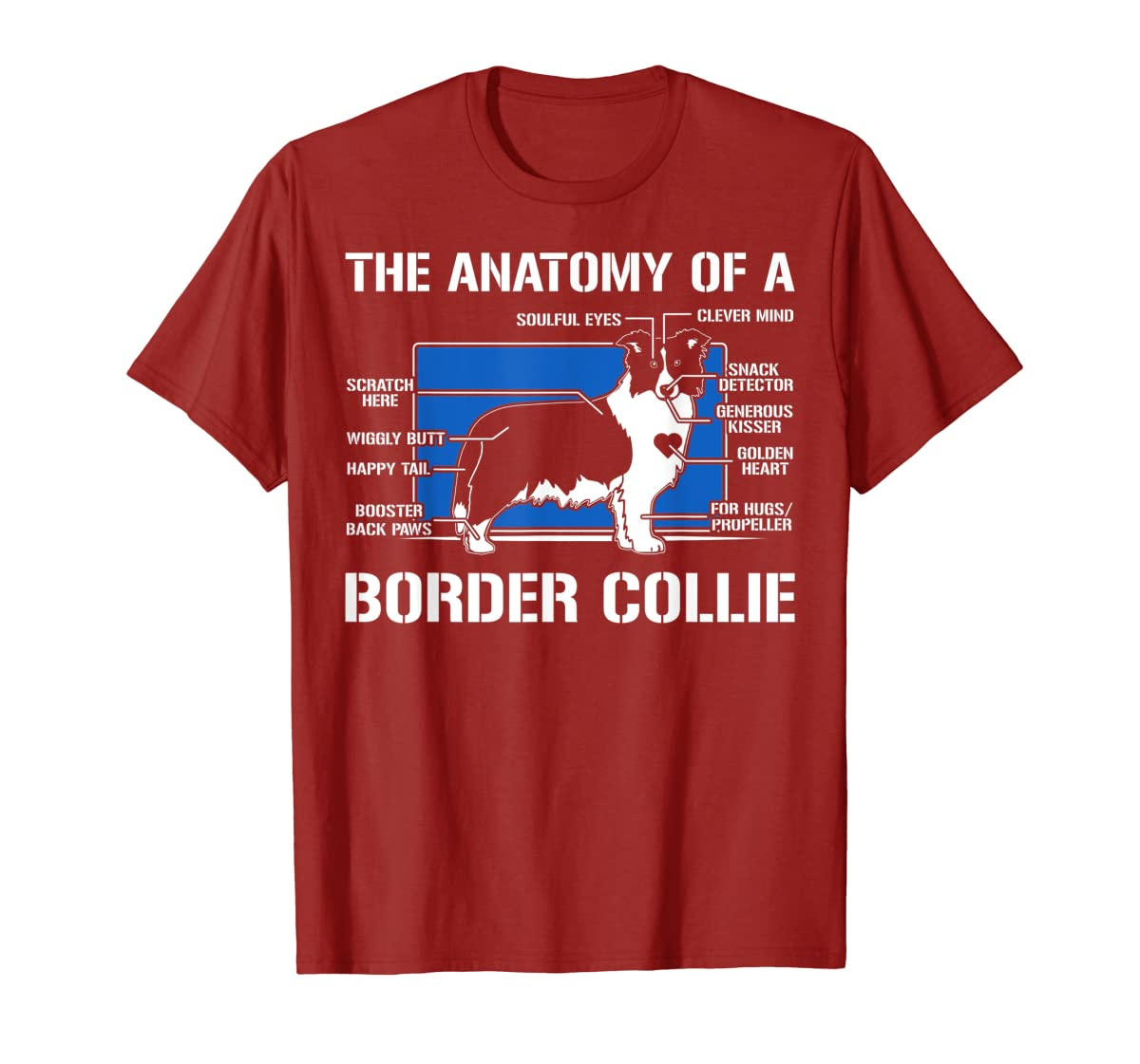 The Anatomy Of A Border Collie T shirt-Men's T-Shirt-Red
