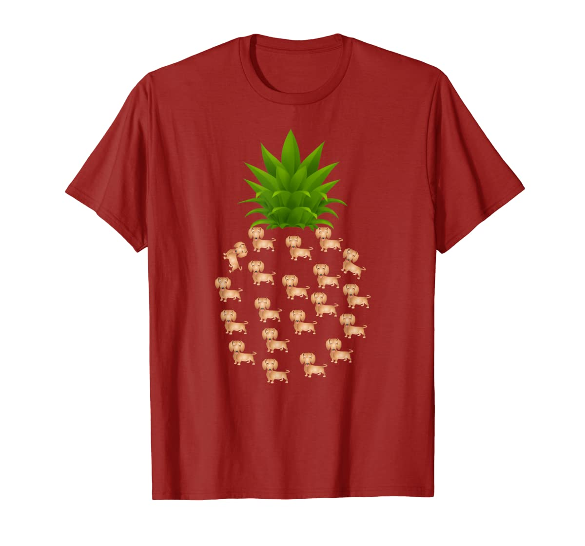 Pineapple Dachshund T-Shirt. Birthday Gift Dachshund Lovers-Men's T-Shirt-Red