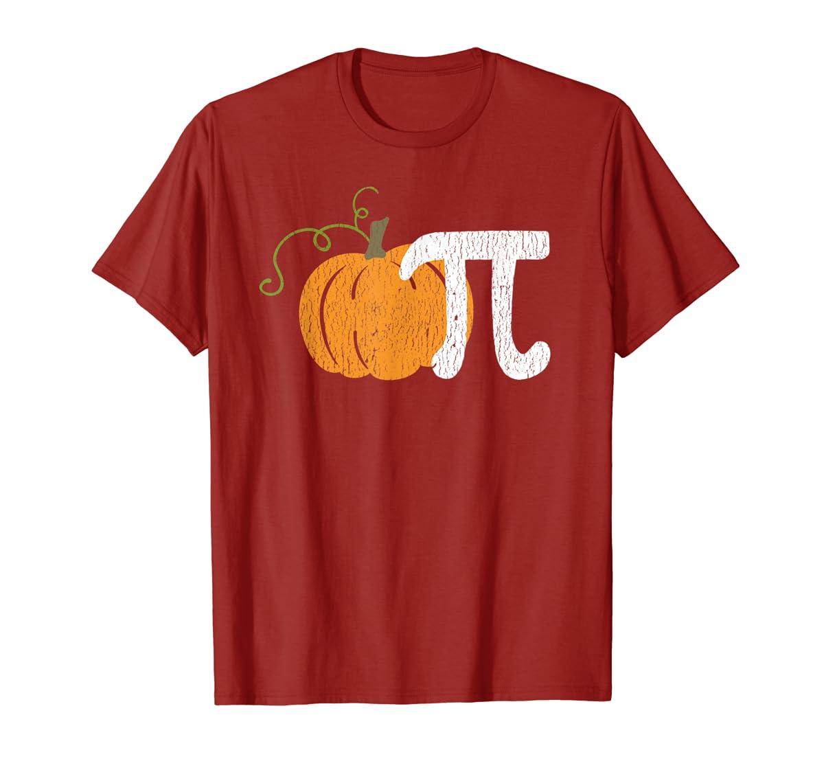 Funny Pumpkin Pie Math Teacher Halloween Pi Humor T-Shirt-Men's T-Shirt-Red