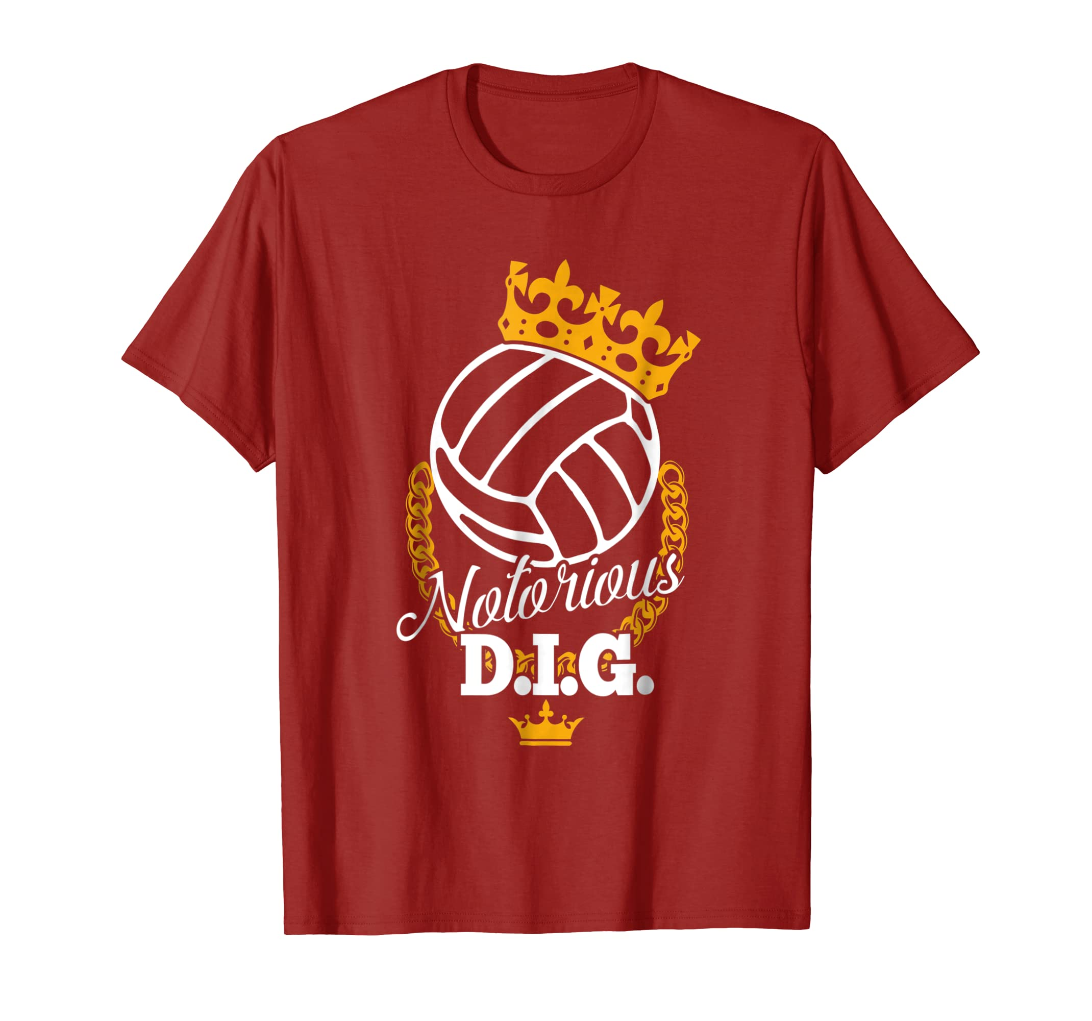 2c054f4111 Amazon.com: Funny Vollyball Team T-Shirt - Notorious DIG Crown Pun Tees:  Clothing