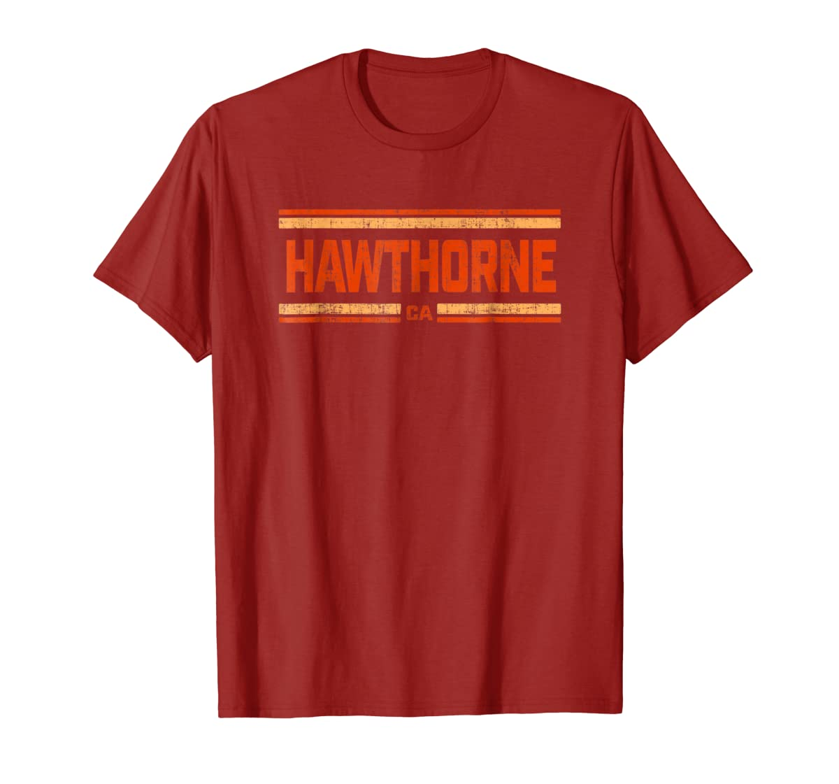 Retro Vintage Hawthorne CA Distressed T-Shirt-Men's T-Shirt-Red