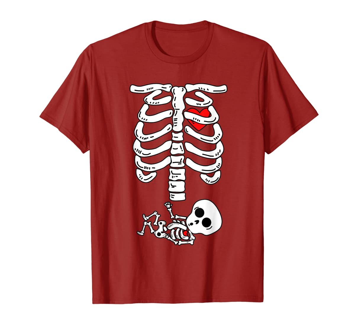 Skeleton Pregnancy Halloween Costumes For Couples T-Shirt-Men's T-Shirt-Red