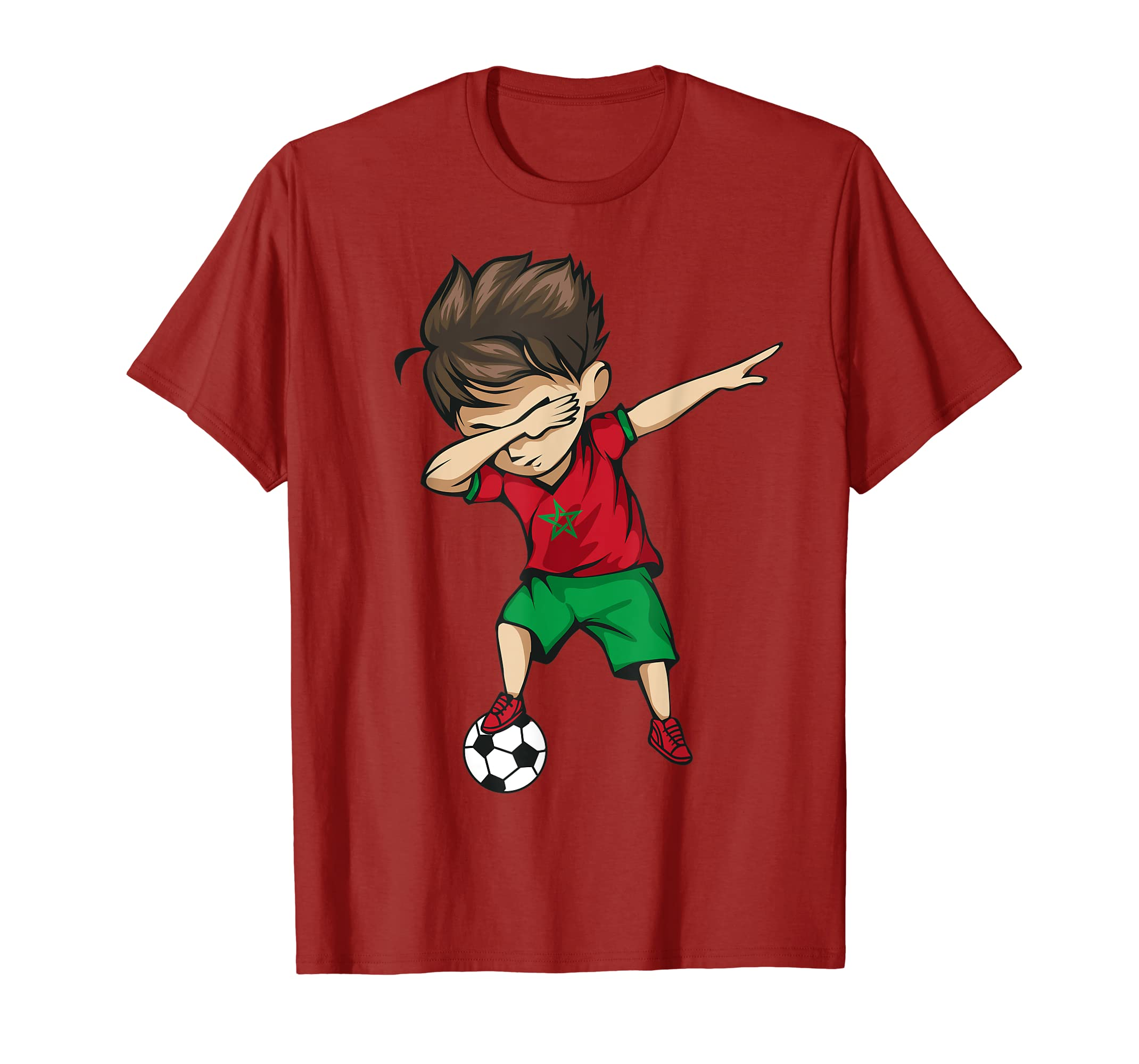 Amazon.com  Dabbing Soccer Boy Morocco Jersey Shirt - Moroccan Football   Clothing 90248886f