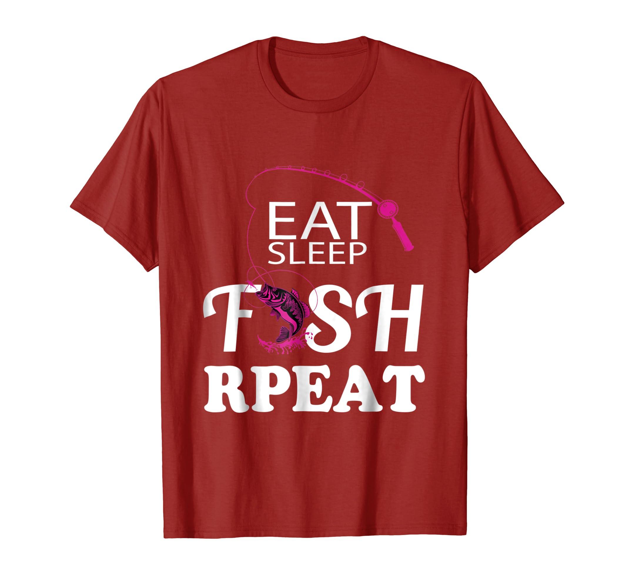 531d0b63 Amazon.com: Fishing T-Shirt Eat Sleep Fish Repeat tshirt: Clothing