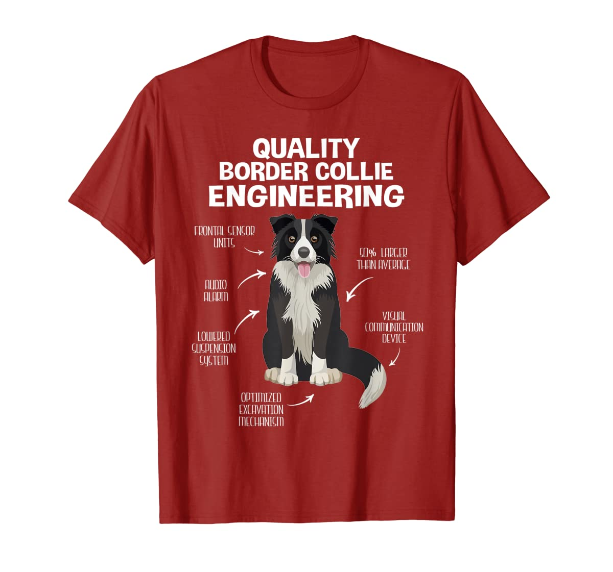 Quality Border Collie Engineering Dog Lover Gift T-Shirt-Men's T-Shirt-Red
